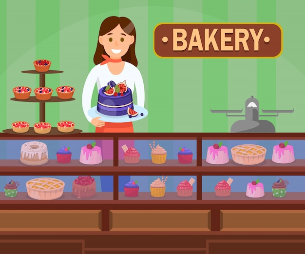 Confectioner with cakes flat vector illustration