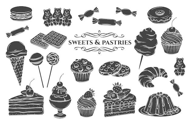 Кондитерские изделия и сладости изолировали иконки глифов. черный на белом десерт, мороженое с конфетами, макаронами и пудингом.