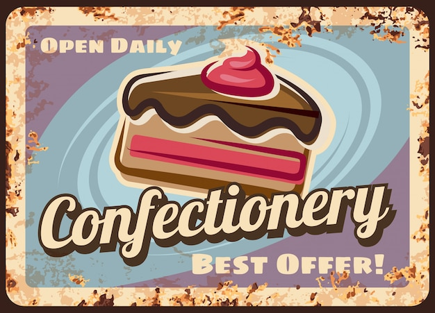 Confectionery or cafe rusty metal vector plate