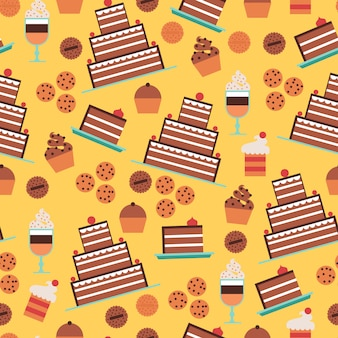 Confectionery and cakes seamless pattern with desserts and cookies on yellow background