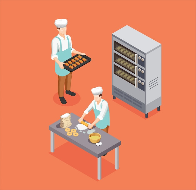 Confectionery chef isometric composition