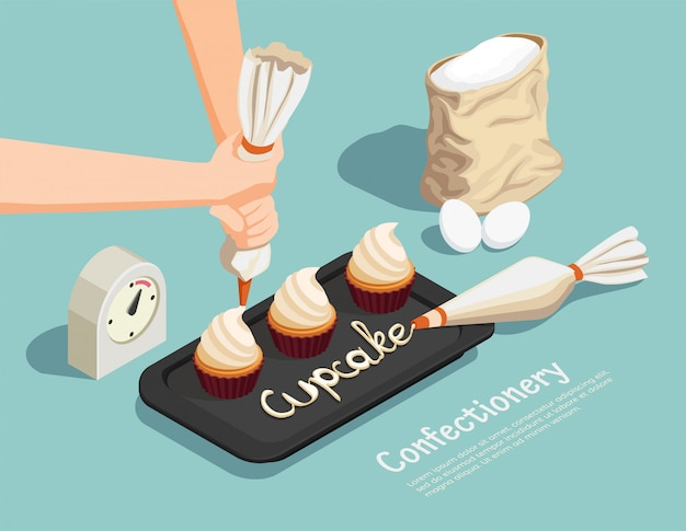 Confectionery chef isometric concept