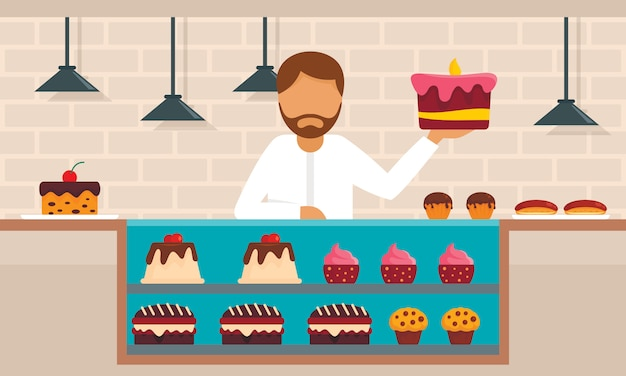 Confectionery concept, flat style