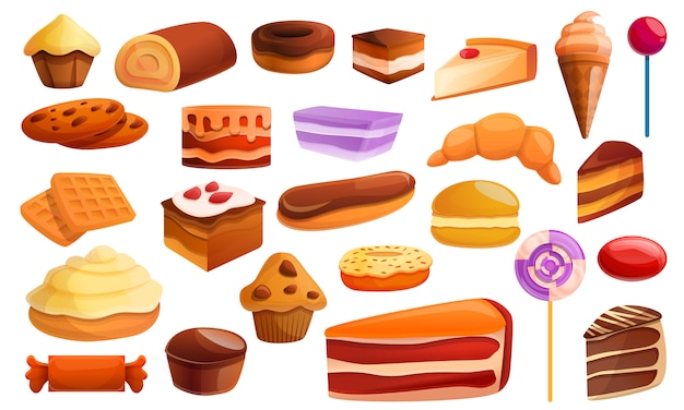 Confectionery icons set, cartoon style