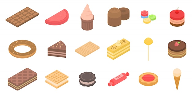 Confectionery icons set, isometric style