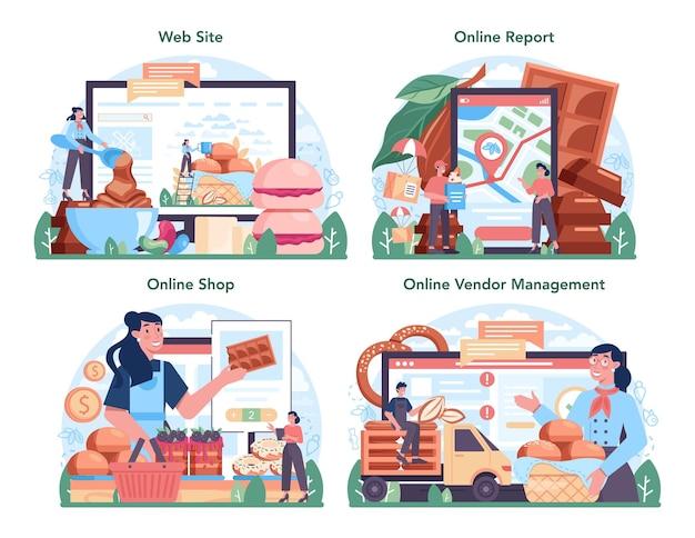 제과 생산 산업 온라인 서비스 또는 플랫폼 집합입니다. 맛있는 패스트리 음식과 과자 제조 과정. 온라인 상점, 보고서, 공급업체 관리, 웹사이트. 평면 벡터 일러스트 레이 션