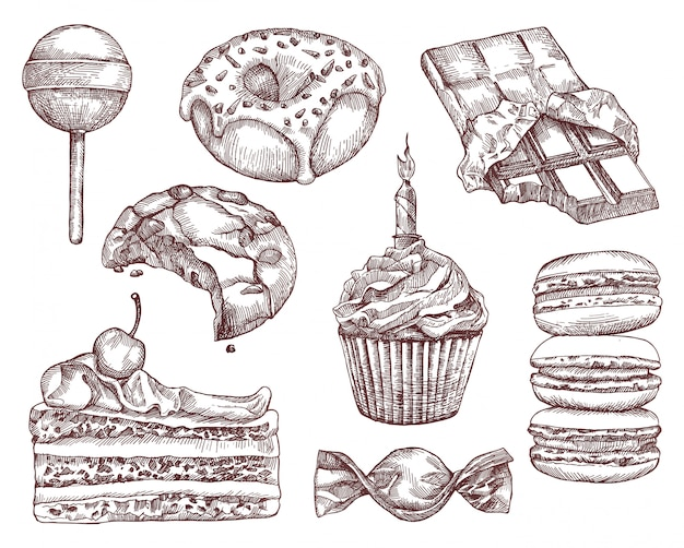 Confectionery, sketches, hand drawing, set