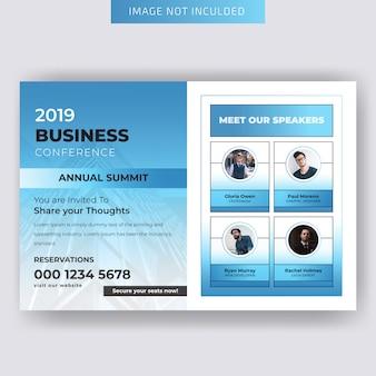 Шаблон горизонтальной бизнес-листовки конференции