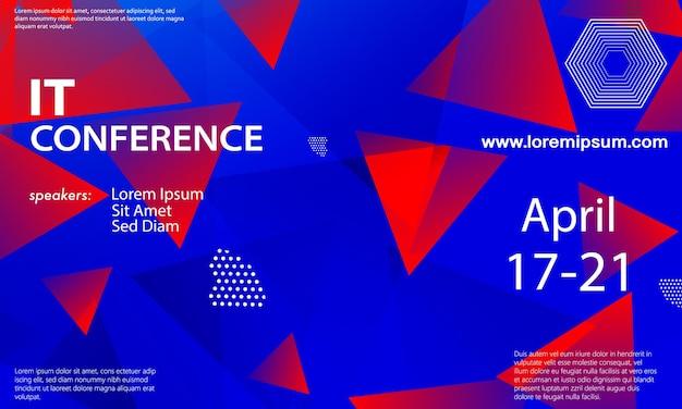 Шаблон оформления объявления конференции, макет флаера. геометрический фон. синий, красный цвета.