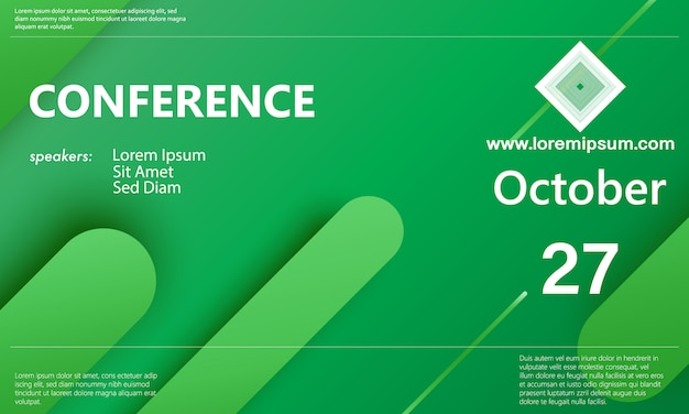 Conference announcement. green color. business background