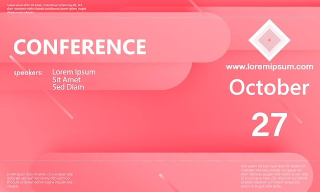 会議発表テンプレート。ビジネスの背景。抽象的な会議のデザイン。カラーベクトルイラスト。