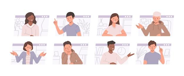 전화 회의 및 원격 회의 개념. 남성과 여성이 이야기하고 smth를 논의하는 삽화의 집합입니다. 사람들이 온라인 채팅과 평면 그림
