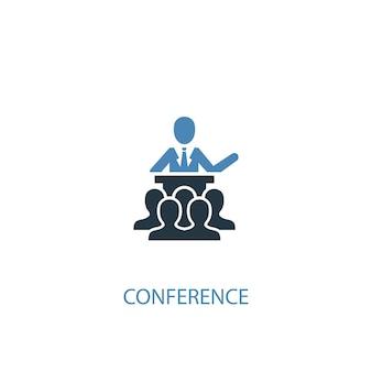 Концепция конференции 2 цветных значка. простой синий элемент иллюстрации. дизайн символа концепции конференции. может использоваться для веб- и мобильных ui / ux