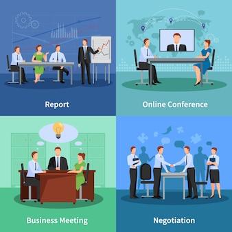Set di icone di concetto di conferenza