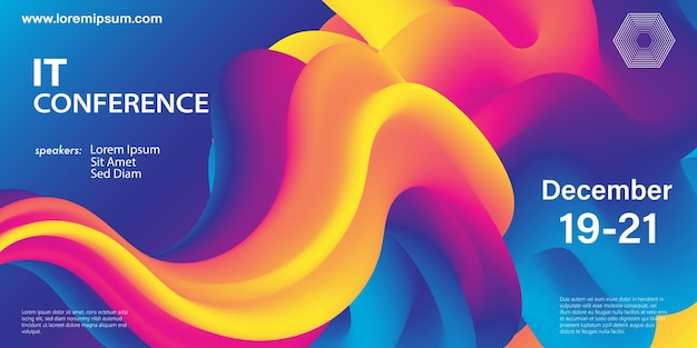 会議デザインテンプレート。液体の色の形。流動的な背景。未来的なデザインのポスター。カラフルなグラデーション。