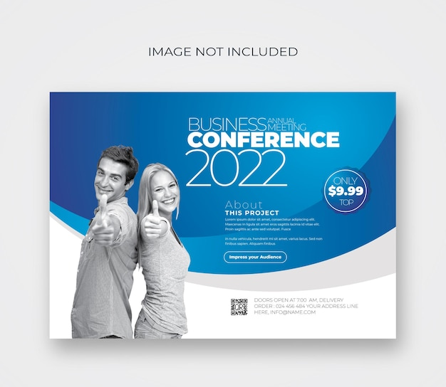 Conference flyer with blue accent