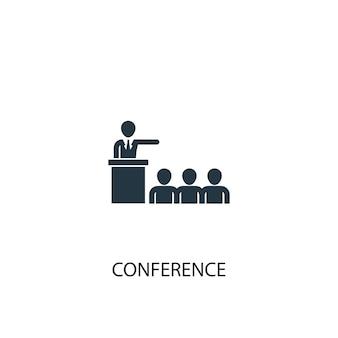 Значок конференции. простая иллюстрация элемента. конференция концепция дизайн символа. может использоваться в интернете и на мобильных устройствах.