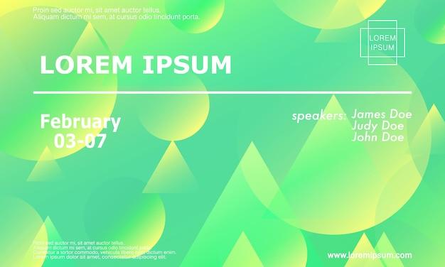 Шаблон оформления приглашения конференции, макет флаера. геометрический фон. минималистичный абстрактный дизайн обложки. креативные красочные обои. модный градиентный плакат. векторная иллюстрация.