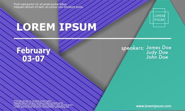 Шаблон оформления приглашения конференции, макет флаера. геометрический фон. минималистичный абстрактный дизайн обложки. креативные красочные обои. модный градиентный плакат. векторная иллюстрация. Premium векторы