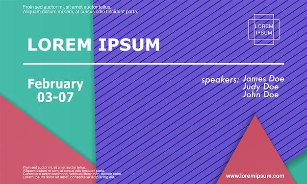 Шаблон оформления приглашения конференции, макет флаера. геометрический дизайн материала фон. минималистичный абстрактный дизайн обложки. креативные красочные обои. модный градиентный плакат. векторная иллюстрация.