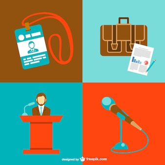 Conference meeting graphics set Free Vector