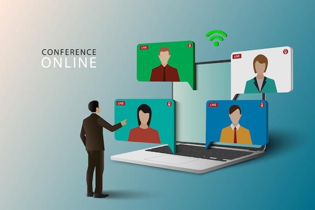 会議会議オンラインコンセプト。ノートパソコンでライブ会議。オンラインのビデオ会議。ビデオ会議の着陸。ライブ会議とオンライン会議のワークスペース。