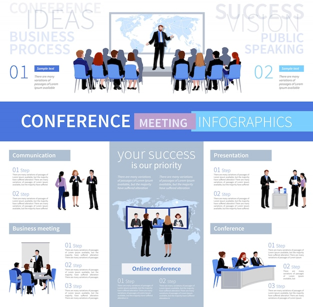 Conference meeting people infographics template with different types of negotiation