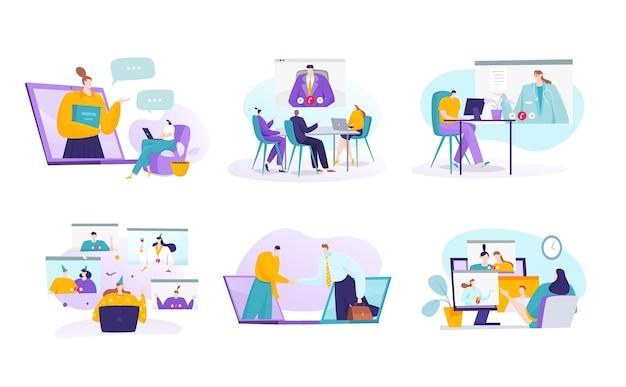 Конференция онлайн через интернет концепция коммуникации набор иллюстраций