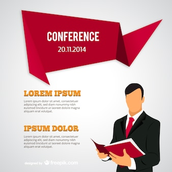 Conference poster with businessman