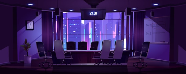 Conference room for business meetings at night