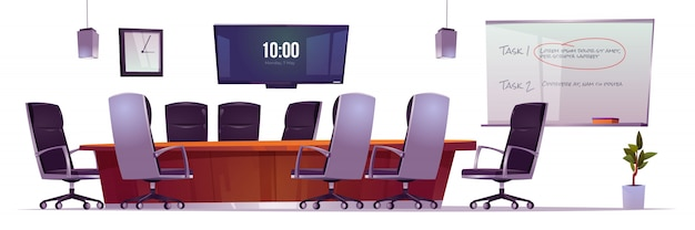 회사 회의에서 비즈니스 미팅, 교육 및 프리젠 테이션을위한 회의실.