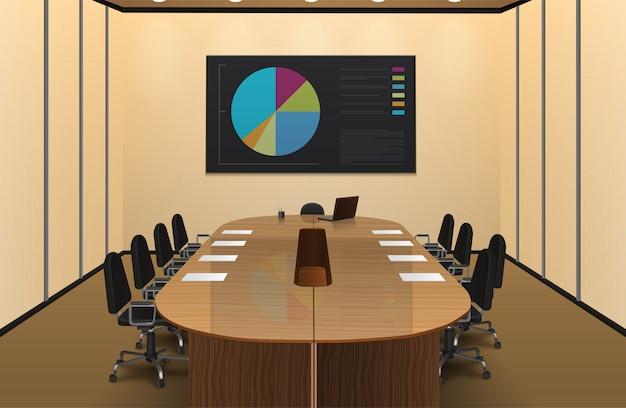 Конференц-зал интерьер реалистичный дизайн с диаграммой на экране векторной иллюстрации