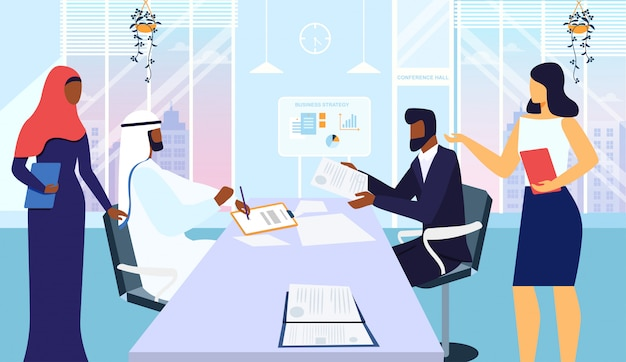 Conference room meeting flat vector illustration