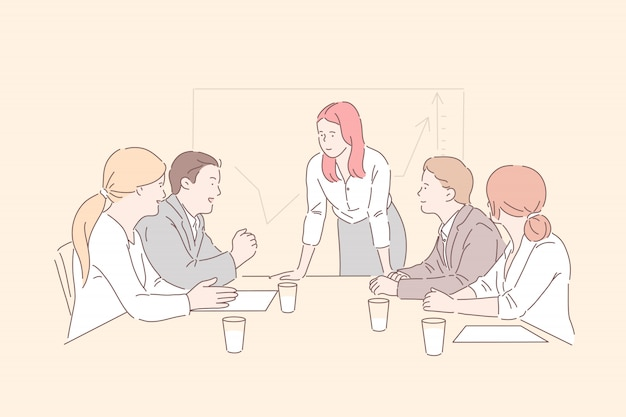 Conference room meeting . lady boss communicating with top managers, analyzing market trends, growth statistics, business partners discussing company development strategy. simple flat
