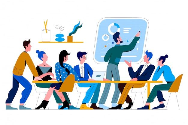 Конференц-зал офиса людей плоской иллюстрации