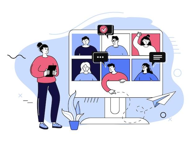 Конференц-видеозвонок. групповой видеозвонок и концепция виртуальной встречи, люди разговаривают друг с другом на экране монитора. концепция удаленной связи плоские векторные иллюстрации