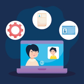 Conference video call and office icons around