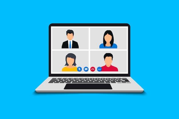 会議のビデオ通話。ビデオ通話でのオンライン会議。 webビデオ会議。オンライン会議にラップトップを使用するチーム。在宅勤務のアイデアをブレインストーミング交渉、pc画面
