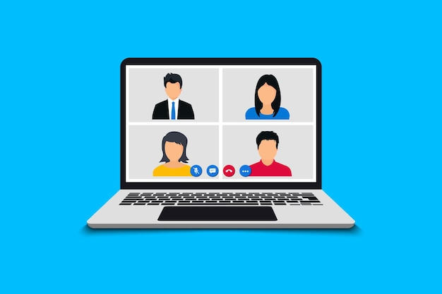 Conference video call. online meeting in video call. web video conference. team using laptop for a online meeting. working from home share ideas brainstorming negotiating, pc screen