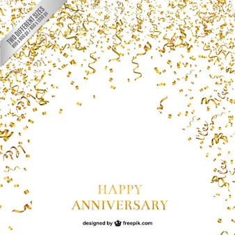 Confetti and serpentine anniversary background