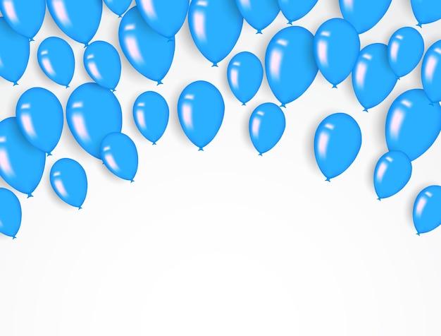 Фон конфетти и синие воздушные шары векторные иллюстрации