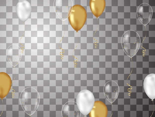 Confetti background and gold balloons vector illustrations