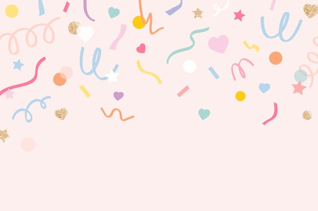 Confetti background vector in cute pastel pink pattern