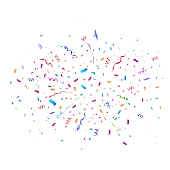 Confetti burst explosion. color flying ribbons and streamers. birthday party  background