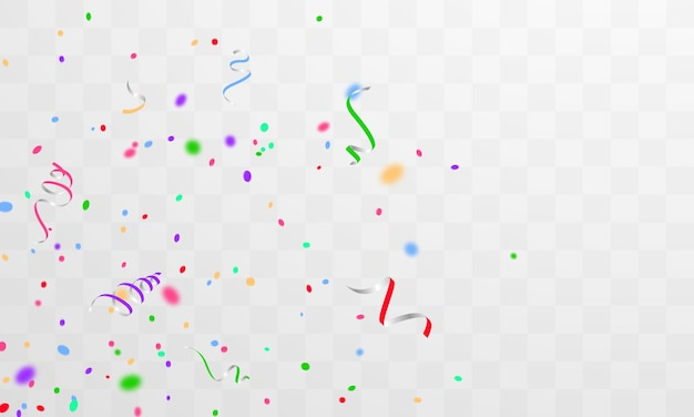 Confetti and colorful ribbons. celebration background template