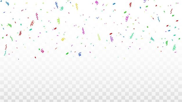Конфетти рамка из разноцветных лент. роскошная поздравительная открытка.