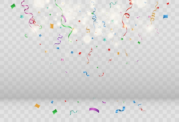 Confetti falling over transparent background.