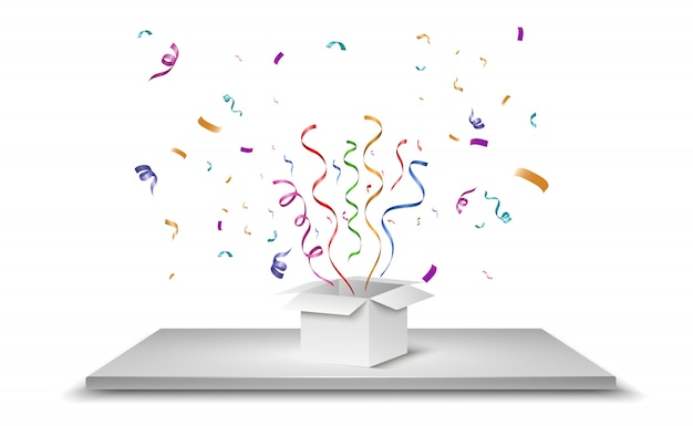 Confetti flies out of the box. surprise . illustration