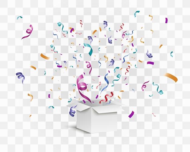 Конфетти вылетает из коробки. сюрприз. иллюстрация