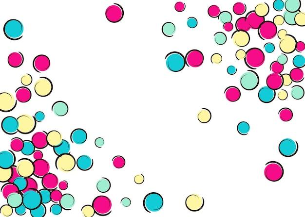コミックポップアートの水玉模様の紙吹雪フレーム。白地に大きな色の斑点、渦巻き、円。ベクトルイラスト。流行に敏感な子供たちが誕生日パーティーに飛び散る。レインボー紙吹雪フレーム。